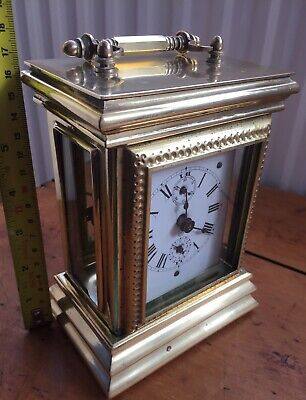 Quite Rare Victorian Brass Wind Up Carriage Alarm Clock