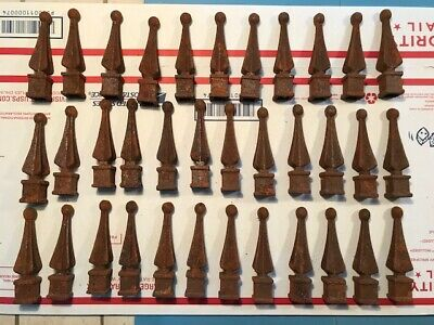 (35) Vintage Wrought Iron Fence Caps,tops points vintage,cast iron fencing  !!!