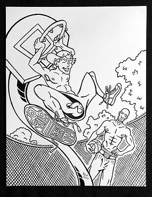 "FREEBALL B-BALL Original Ink Drawing 11"" x 14"" male jocks gay men cartoon comic"
