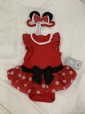 BNWT Disney Store Baby Girl Minnie Mouse Outfit Set With Headband 6-9 Months