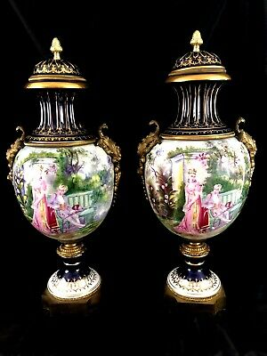 "Huge 22"" Vintage Pair Sevres Style Porcelain And Bronze Hand Painted Urns"