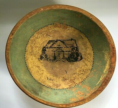 Antique Primitive Folk Art Hand Painted Wood Wooden Bowl Cottage Signed