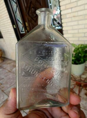 GOLD CURE Dr. KEELEY'S DRUNKENNESS MEDICINE BOTTLE w/ SPOUT DWIGHT, ILL 1800's