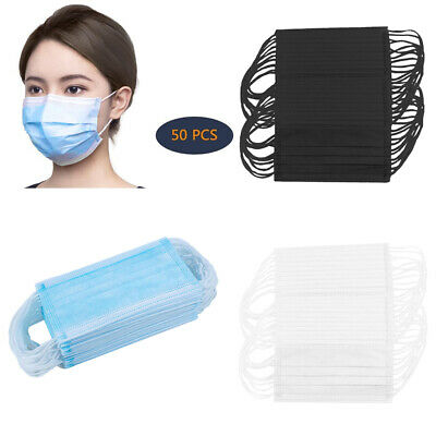 50x Disposable Face Mask Breathable Anti-Dust Fog Mouth Shield Nose Protection