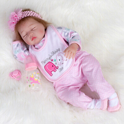22'' Realistic Sleeping Girl Reborn Baby doll Handmade Lifelike Newborn +Clothes