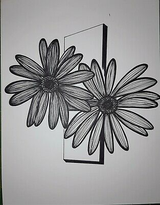 Original black line Ink flower on paper