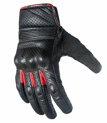 Motorcycle Biker Gloves Black Premium Leather | Touchscreen | Padded All Weat...