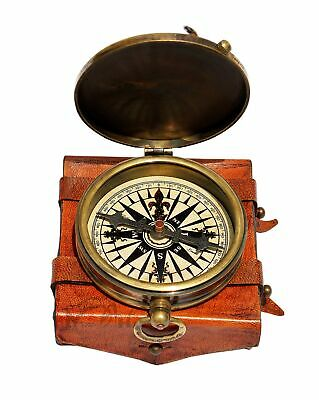 MAH ''Robert Frost Poem'' Engraved Antiquated Finish Brass Compass with Case....