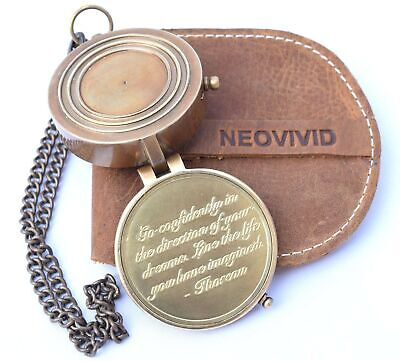NEOVIVID Thoreau's Go Confidently Quote Engraved Compass with Stamped Leather...