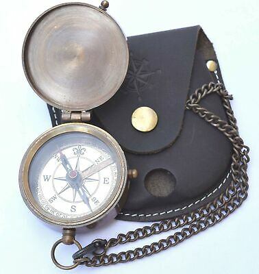 NEOVIVID Engravable Compass, Pocket Compass, Brass Compass with Leather Carry...