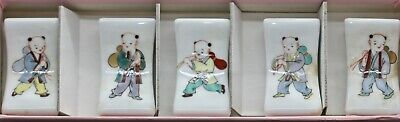 Vintage Set Of Five Japanese Hand Painted Porcelain Chopstick Stands Boxed