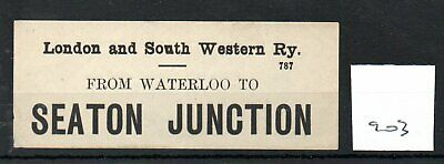 London & South Western Railway LSWR - Luggage Label (903) Seaton Junction