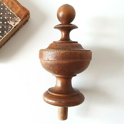 Antique turned wood post finial Furniture Cabinetry salvage Wooden topper 4.96