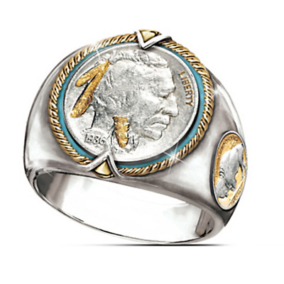 Ancient 925 Silver Two Tune Ring Women  Men Jewelry Gift Size 13