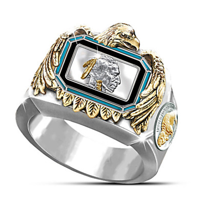 Ancient Eagle Two Tone 925 Silver Ring Women Men Wedding Jewelry Gift Size 10