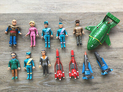 Vintage Thunderbirds  8 Action Figures + 5 Ships/Rockets-AS IS