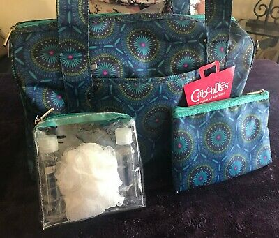 Caboodles Overnight Trio - 3 Piece Travel Bag Set NEW (NWT) - Blue Pattern
