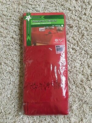 Christmas 70 inch Round Red TableCloth With cutwork.   New in Package.