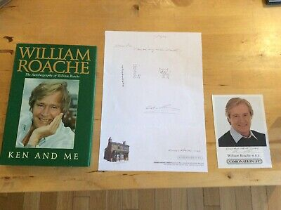 WILLIAM ROACHE signed letter, photo, drawing doodle, book Coronation Street