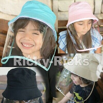Kids Face Shield Cap Fisherman Hat Removable Outdoor Detachable Visor Face Mask