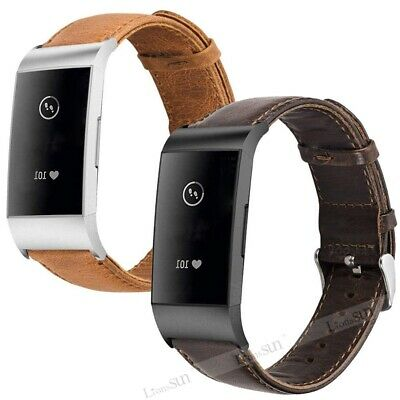 Genuine Leather Watch Band For Fitbit Charge 3 4 Smart Bracelet Wrist Strap Belt