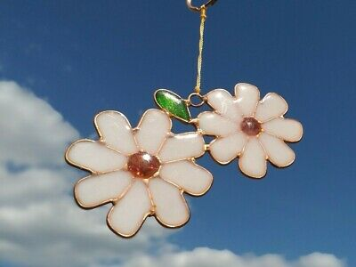 Double Daisy Suncatcher Stained Glass Effect Sun Catcher Hanging Decoration