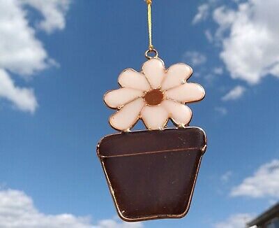 Daisy Flower Pot Suncatcher Stained Glass Effect Sun Catcher Hanging Decoration