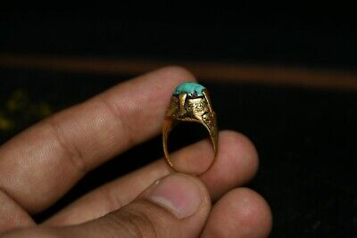 A Very  Beautiful Old Rare Ancient Roman 20k+ Gold Turquoise Ring from Balkh