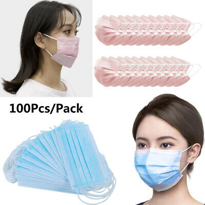 100x 3-Ply Disposable Face Mask Anti Haze Fog 3 Layer Filter Mouth Cover Stretch