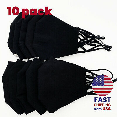 [10 PACK] Black Handmade Reusable Washable Cotton Cloth Face Mask 2 Layers Cover