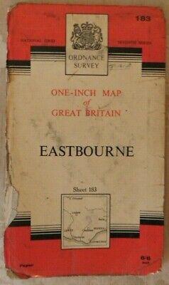 Vintage 1960 Eastbourne OS Ordnance Survey One-inch Seventh Series Map 183