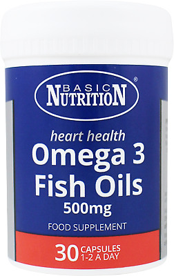 Basic Nutrition -  30 x Omega 3 Fish Oils Capsules - 500mg -  Health & Wellbeing