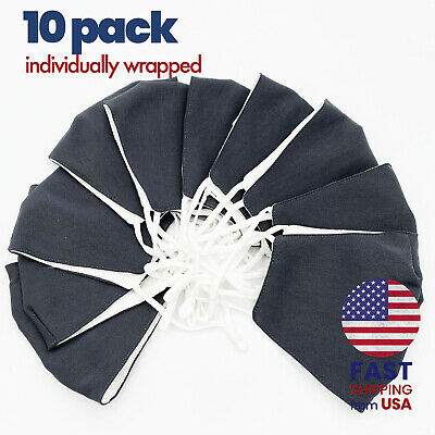 [10 PACK] Charcoal Gray Handmade Washable Cotton Cloth Face Mask 2 Layers Cover