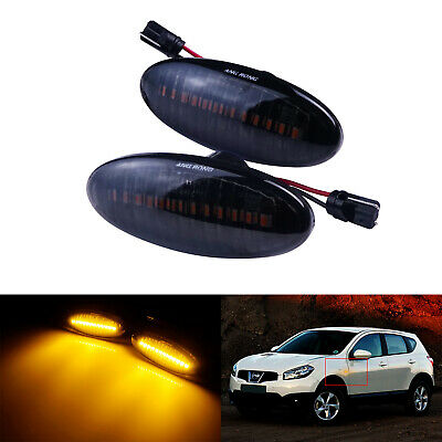 2x Clear Lens Side Indicator Amber LED Marker Repeater Light For 2003-08 Cube Micra Navara Note Pathfinder Qashqai 350Z