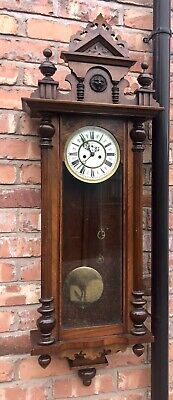 Antique Double Weighted Vienna Wall Clock A. Willmann & Co Freiberg Germany