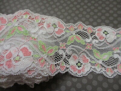 """3 Yards 8.5/"""" Wide Stretch Floral Lace Violet Lingerie Headband Gloves Bow 608"""