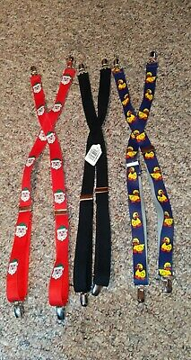 Boy's Suspenders Lot of 3 Solid Black, Blue with Ducks, Red with Santa*