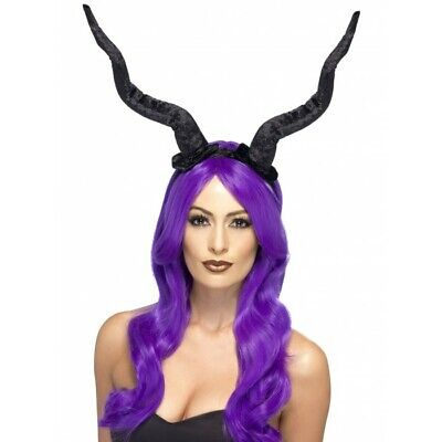Wywei Copricapo di Halloween Latex Hat Horns Evil Black Queen Copricapo Cosplay