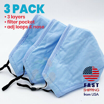 [3 PACK] LIGHT SKY BLUE 3 Layers Cotton Face Mask Filter Pocket Cloth Reusable