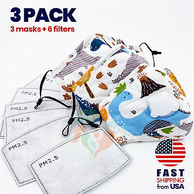 [3 PACK] Dinosaurs Kids Cotton Valve Face Mask with Filter Pocket, PM2.5 Filter