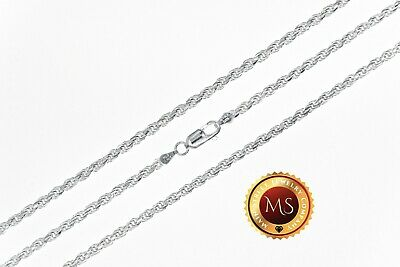 3mm Italy 925 SOLID Sterling Silver Diamond-Cut ROPE Chain Necklace or Bracelet