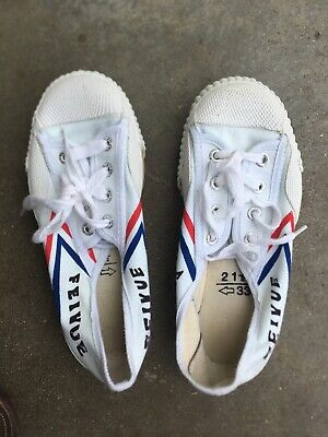 NEW! Feivue Feiyue Tiger Claw White Canvas Martial Arts Shoe Size 33 Kids