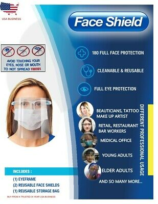 Face Shield Full Clear Safety Anti Sneeze/Splash Protection REUSABLE w/BAG