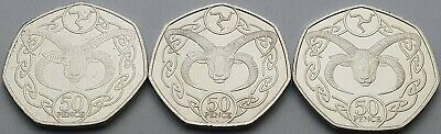 Isle of Man Loaghtan Ram 50p coin 2017, 18 & 19 date run - Circulated