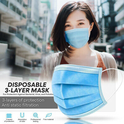DISPOSABLE FACE MASK -50 PC- Non Medical Surgical 3-Ply Earloop Mouth Nose Cover