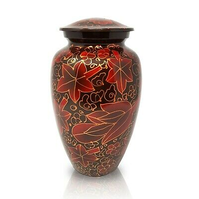 Adult Urn Human Ashes Large Alloy Cremation Urn Funeral Urn Leaf Design