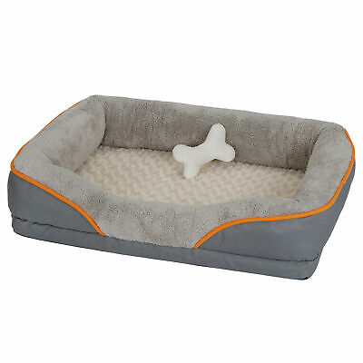 """31"""" Orthopedic Cozy Dog Bed Memory Foam Pet Bed with Washable Cover & Toy"""