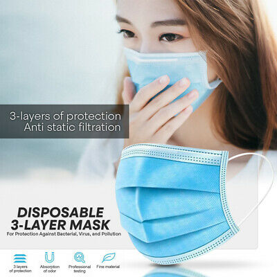 DISPOSABLE FACE MASK -10 PC- Non Medical Surgical 3-Ply Earloop Mouth Nose Cover