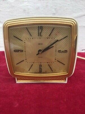 Smiths Sentric Square Electronic Clock with bakerlite case and gold frame/ dial