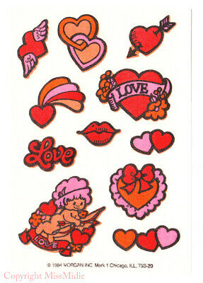 Vintage 80/'s Mark 1 GRAPE Scratch n Sniff Heart Jesus Bible Tattoo Sticker Sheet